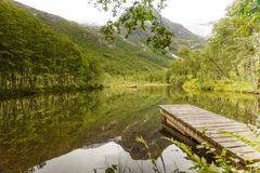 Old wooden pier on lake pond in summer. Peaceful norwegian landscape, mountains in the background Stock Images