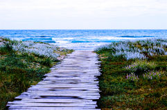 Old wooden pier to the sea background - beach scenery Stock Photography