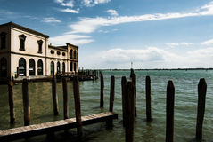 Old wooden pier, Venice, Italy Stock Photos