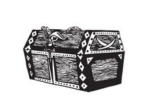 Old wooden pirate treasure chest. Hand drawn sketch illustration. Vector black ink drawing isolated on white background. Old wooden pirate treasure chest. Hand stock illustration