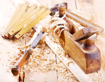 Old wooden plane Stock Images