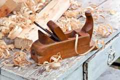 Old wooden plane Stock Photo