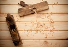 Old wooden planes in a workshop of the carpenter Royalty Free Stock Image