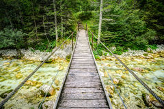 Old wooden plank bridge across beautiful river. Overcoming an obstacle concept. Stock Photography