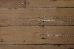 An old wooden plank floor. An old wooden oak plank floor with nail heads showing through Royalty Free Stock Images