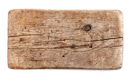 Old wooden plank. Isolated on white background royalty free stock photo