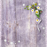 Old wooden planks with a bouquet of flowers Royalty Free Stock Photo