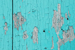 Old wooden planks with cracked. Paint in cyan Stock Photography
