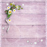 Old wooden planks with flowers Stock Photo