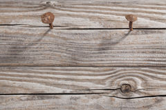 Old Wooden Planks and two rusty Nails Royalty Free Stock Photos