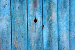 Old Wooden Planks Wall. A background made of wooden boars painted with blue paint Stock Photography
