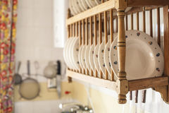 Old wooden plate rack Royalty Free Stock Image