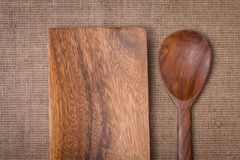 Old Wooden plate and spoon Stock Images