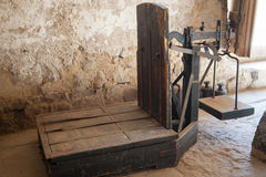 Old wooden platform scales in antique mill Stock Photography
