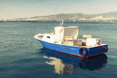 Old wooden pleasure boat anchored in Izmir bay Royalty Free Stock Images