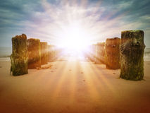 Old wooden poles. On a sandy beach, in the perspective of the sunrays Royalty Free Stock Images