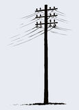 Old wooden power pole Royalty Free Stock Photography