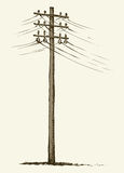 Old wooden power pole Stock Photos