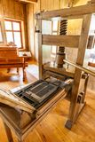 Old wooden printing press. First printing press by Gutenberg royalty free stock photo