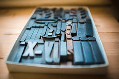 Old wooden printing type, font characters Stock Photography