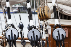 Old wooden pulley on a sailing boat Stock Photo