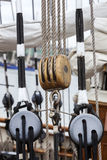 Old wooden pulley on a sailing boat Stock Photography