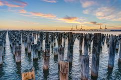 Old wooden pylons of historic Princes Pier in Port Melbourne. Australia. HDR processed photo stock photo