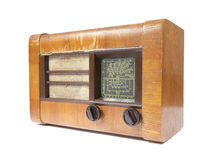 Old wooden radio stock photo
