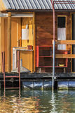 Old Floating Weekend Wooden Raft Hut On Sava River Detail - Belgrade - Serbia. Photograph represents detail of an old, handmade wooden hut, placed among many Stock Images