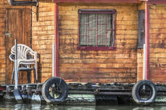 Old Floating Weekend Wooden Raft Hut On Sava River Detail - Belgrade - Serbia. Photograph represents detail of an old, handmade wooden hut, placed among many Royalty Free Stock Photography