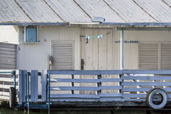 Old Wooden Raft Hut On Sava River, Belgrade, Serbia-Detail. Photograph represents detail of an old, handmade wooden hut, placed among many, side by side, along Royalty Free Stock Image