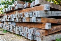 Old wooden railroad sleeper. Stock Image