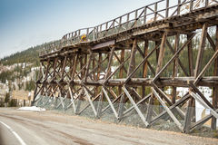 Old wooden railway bridge Royalty Free Stock Images