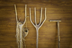 Antique wooden rakes for plowing royalty free stock image