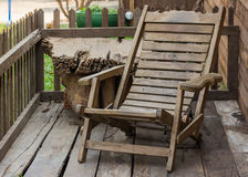 Old Wooden reclining chair Royalty Free Stock Image