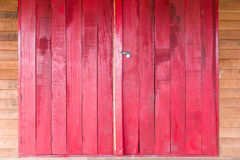 Old Wooden Red Door Stock Image