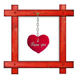 Old wooden red frame against a white background with red soft he Royalty Free Stock Images