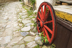 Old Wooden Red Wagon Wheel Royalty Free Stock Image