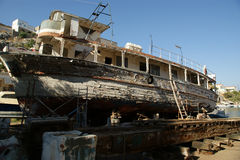 Old wooden restored ship in a dry dock Stock Photography
