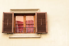 Old wooden retro style window. Retro style old wooden window with shutters, italian style Royalty Free Stock Photography