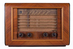 Old wooden retro table tube radio. Isolated on white background Royalty Free Stock Photo
