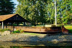 Old wooden river ship on dock for repairing royalty free stock photos
