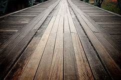 Old wooden road on the metal bridge Royalty Free Stock Photos