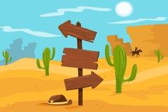 Old wooden road sign standing on desert landscape background vector Illustration, cartoon style. Old wooden road sign standing on desert landscape background stock illustration