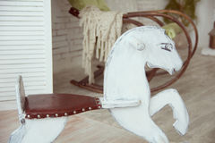 Old wooden rocking horse Royalty Free Stock Photography