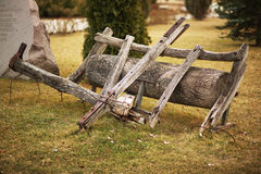 Old wooden roller decor Stock Photo
