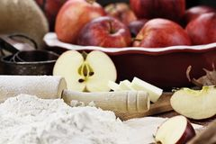 Fresh Apple Pie Ingredients with Rolling Pin Stock Photography