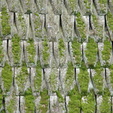 Old Wooden Roof Covered With A Moss Stock Photo