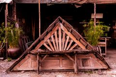 Old wooden roof in garage stock photos