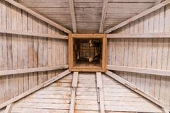 Wooden roof, rafters and chimney. Old wooden roof, rafters and chimney stock photos